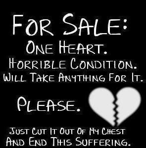 "Rebound-Beziehung ""Heart for sale"" Spruch"